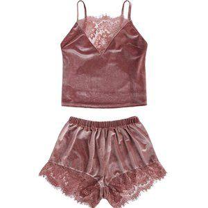 Lace Trim Velvet Pajama Set